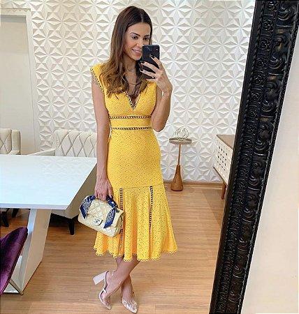 Vestido midi amarelo - Cloude