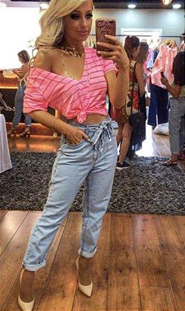 Calça Jeans Mon com Amarração