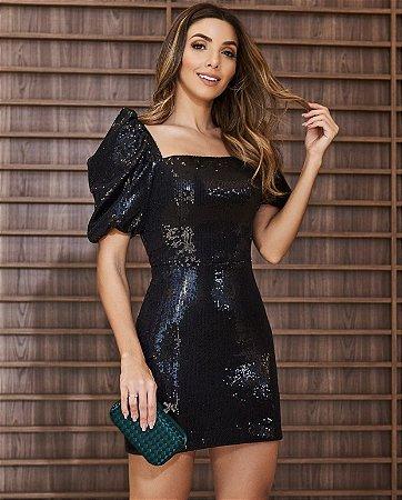 Vestido Preto Paete Olivia