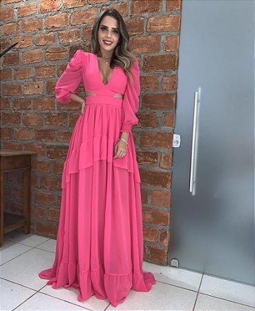 Vestido Longo Pink com babado - Cloude