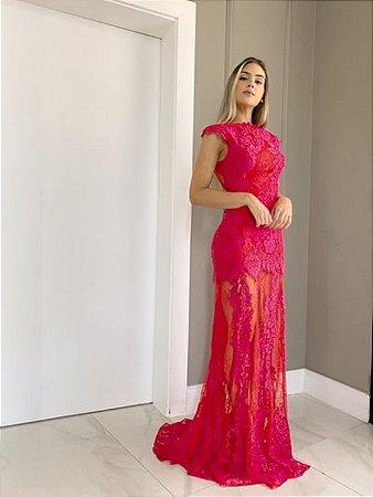Vestido Longo Vermelho E Pink Regina - Cloude