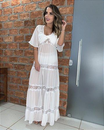 Vestido saida off white - cloude