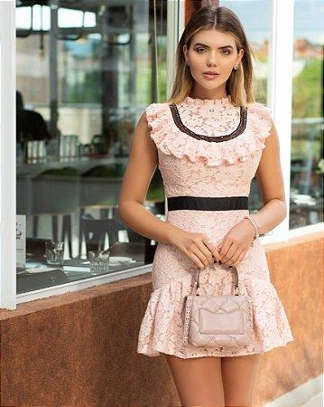 vestido rose rendado - cloude