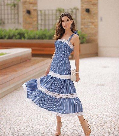 Vestido Midi Azul Listrado - Luzia Fazzolli