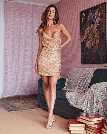 Vestido Dourado em paete - desnude