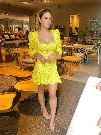 Vestido Amarelo Rendado mira - cloude