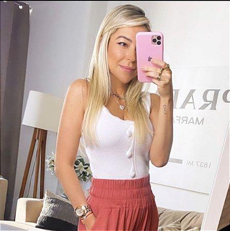 Blusa com botoes colorida