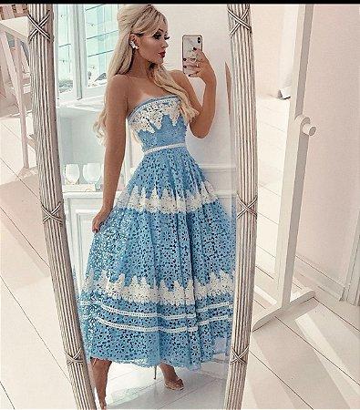 Vestido midi azul renda guipir - cloude