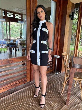 Vestido preto com branco - carol dias