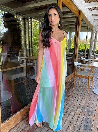 Vestido longo colorido - carol dias