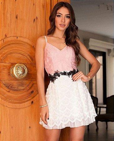 Vestido Rosa Branco e Preto Dior