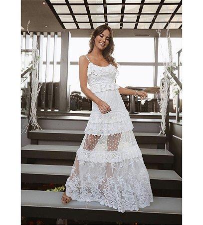 Vestido longo off white com tule hush