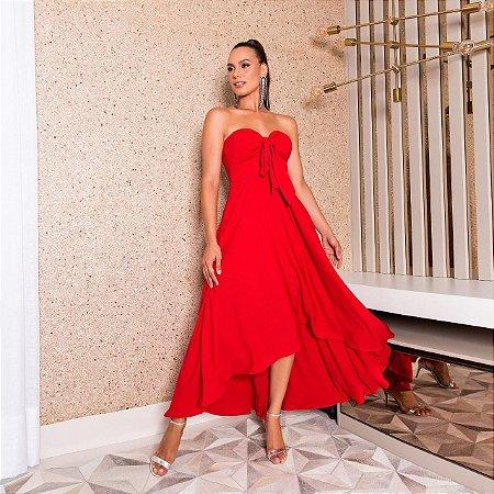Vestido midi vermelho - desnude