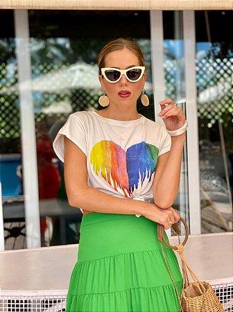 Blusa T-shirt coração - unicas