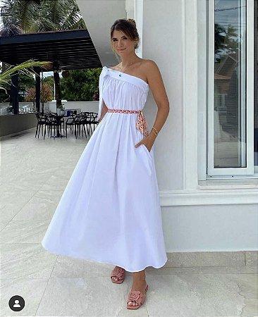 Vestido midi off white lila - carol dias