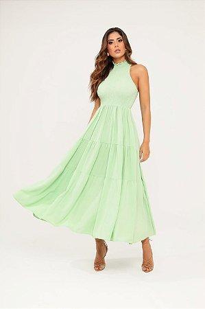 Vestido midi verde cristal - carol dias