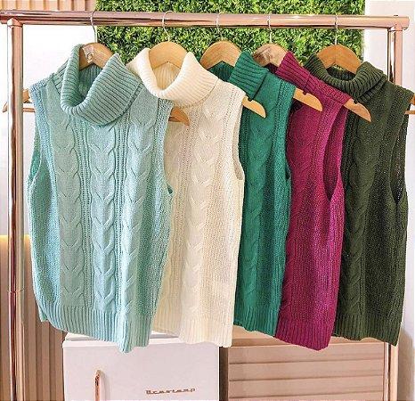 Blusa tricot gola alta cores - Petit
