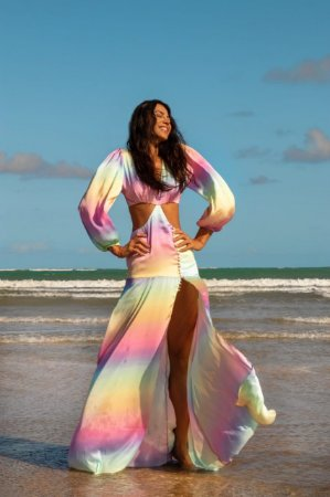 Vestido longo colorido - cloude