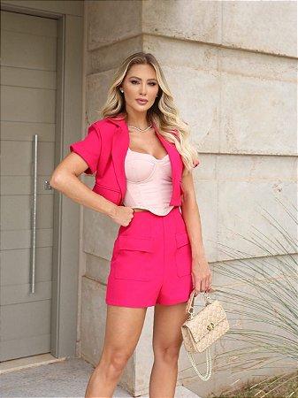 Conjunto pink short e casaquinho - cloude