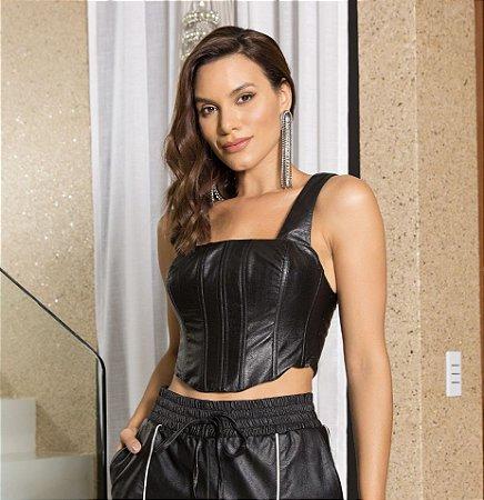 Cropped preto corselet couro - desnude