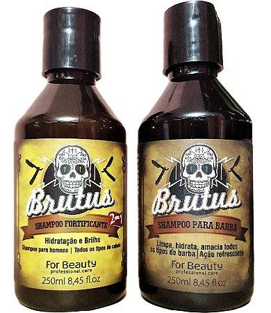 Linha Brutus Shampoo Fortificante 2 em 1 Cabelos e Shampoo para  Barbas