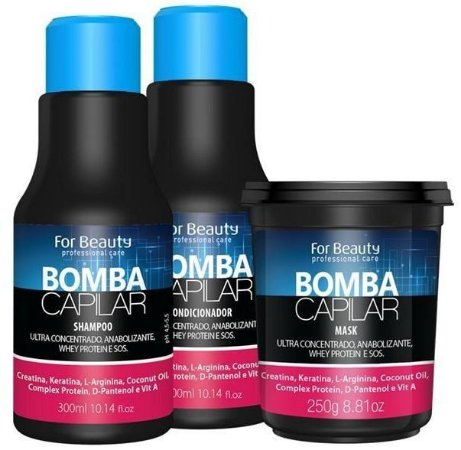 For Beauty - Kit Bomba Capilar Ultra Concentrado  Sh,cond e mascara 250 gr