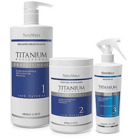 Natumaxx Kit Escova Progressiva Titanium Resistence - 03 Produtos