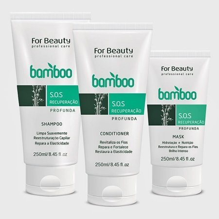 FOR BEAUTY - KIT S.O.S RECUPERAÇAO PROFUNDA BAMBOO SHAMPOO,CONDICIONADOR + MÁSCARA 3x250 ml