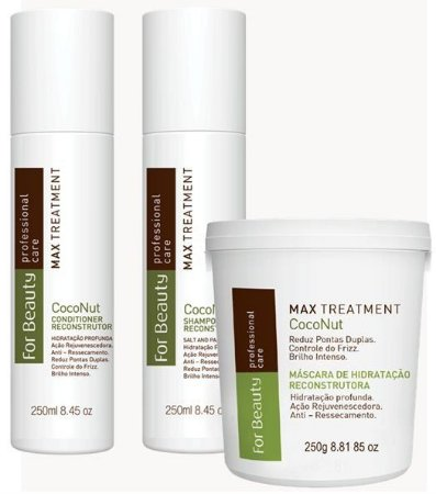 Kit Reconstrutor Max Treatment Coconut For Beauty 03 produtos