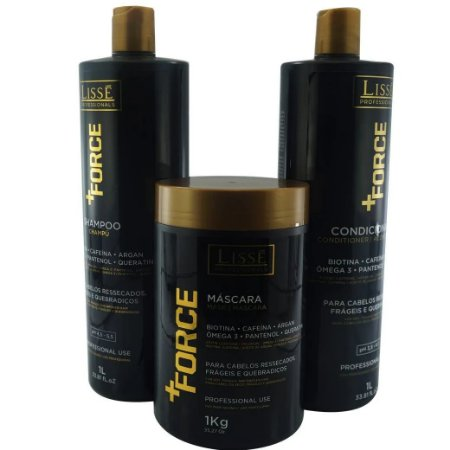 Lissé Kit  Ultra Hidratante + FORCE Shampoo, Condicionador 1L e Mascara 1kg