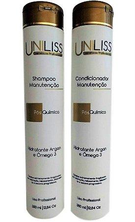 Kit Uniliss Manutenção Shampoo e Condicionador Pós Química Argan e Omega 3