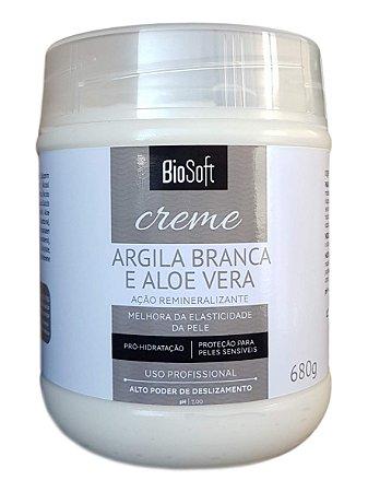 BioSoft Creme Argila Branca e Aloe Vera Melhora a Elasticidade da Pele 680gr