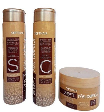 Soft Pós-Química Kit Softhair Shampoo Condicionador e Máscara