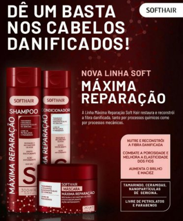 Softhair Máxima Reparação Shampoo Condicionador e Máscara