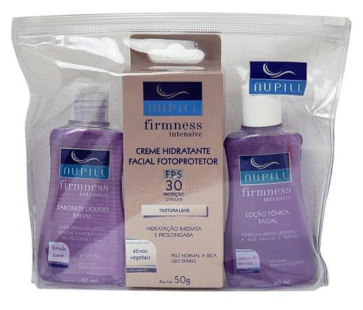 Nupill Tratamento Facial Hidratante Intensivo Sabonete Liquido Loção Tônica e Creme Hidratante FPS 30  Firmness