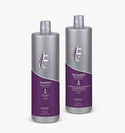 Fit Cosmetics Progressiva Tratamento Avançado e Shampoo Limpeza Profunda Step 1e2