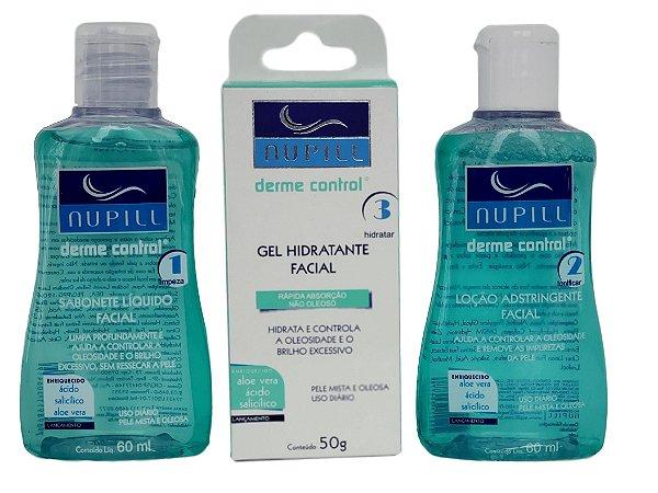 Nupill Derme Control Kit Sabonete Adstringente Gel Hidratante