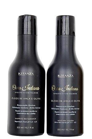 Ouro Indiano Keranza Shampoo e Máscara Efeito Iluminador 300mL