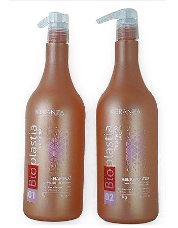 Keranza Bioplastia Tratamento Kit Shampoo e Gel Repositor 1Kg