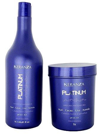 Keranza Platinum Shampoo e Máscara Matizadora Profissional 1L