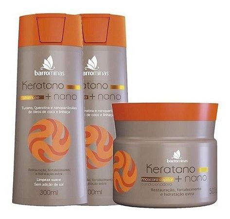 Keratano Nano Barrominas Kit Shampoo Condicionador e Máscara
