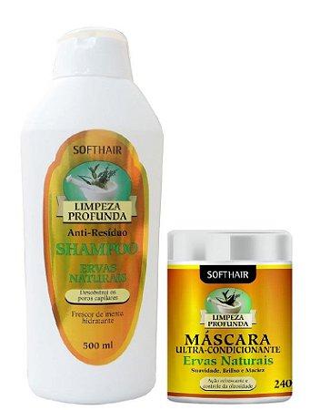 Shampoo Anti-Resíduo E Máscara Ervas Naturais Soft Hair
