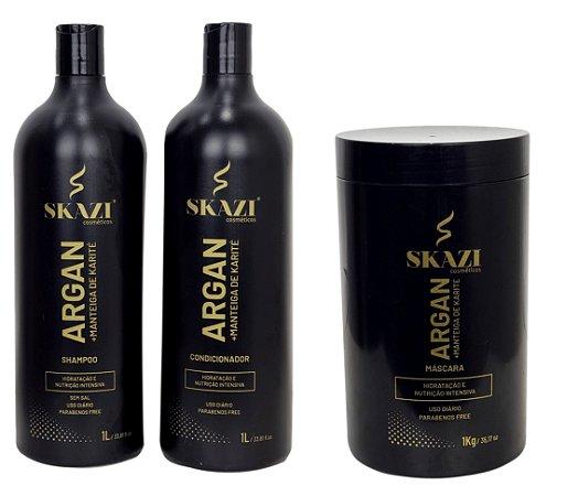 Kit Argan+Manteiga De Karité Skazi Cosméticos Hidratação E Nutrição 3 Passos