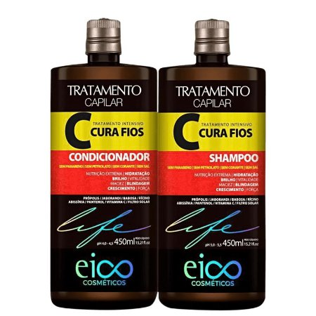 Kit Eico Cura Fios Tratamento Intensivo Shampoo E Condicionador 450ml