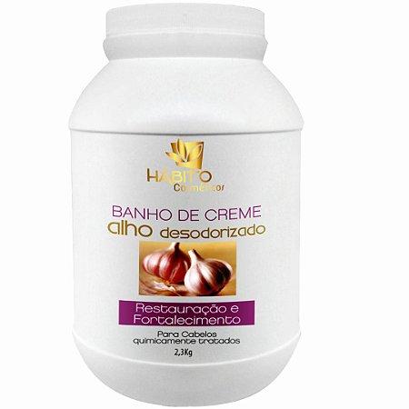 Banho De Creme Alho Desodorizado Reconstrução Pós Química Hábito Cosméticos  Profissional  2,3kg
