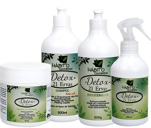 Detox capilar 21 Ervas Hábito cosméticos kit 4 Passos