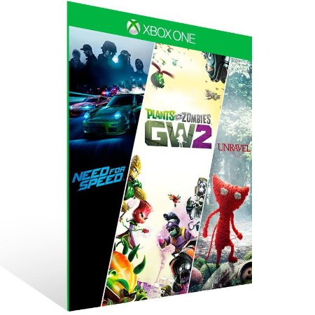 Need for Speed + Plants vs Zombie 2 + Unravel - Xbox One Live Mídia Digital
