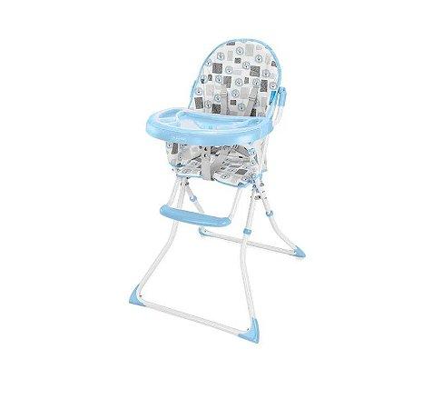 Cadeira Alta De Alimentacao Refeição Para Bebê Slim Azul Leaozinho
