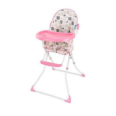 Cadeira Alta De Alimentacao Refeição Para Bebê Slim Rosa Gatinho