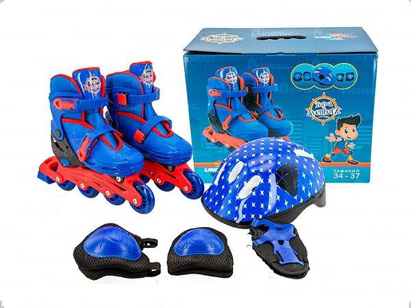 Patins Infantil Inline Ajustável 34-37 Com Kit de Proteção Azul Unitoys